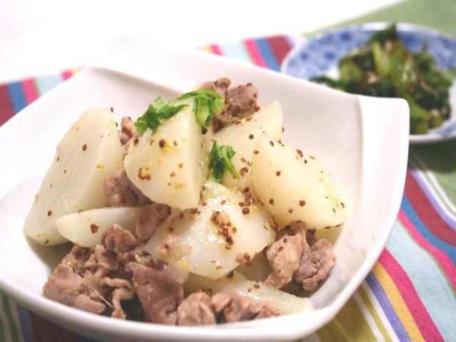かぶと豚肉のマスタード煮