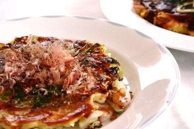 豚玉と海老紫蘇 2種類のお好み焼き