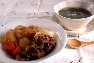 「肉じゃが」&「セロリの翡翠スープ」