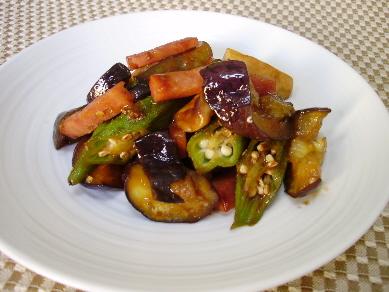 「夏野菜のオイスター炒め」