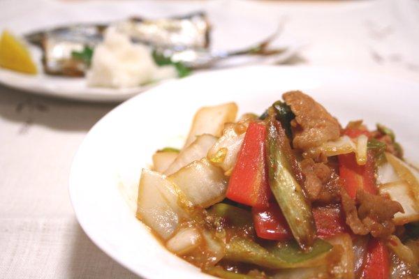 豚肉と白菜のピリ辛味噌炒め&秋刀魚