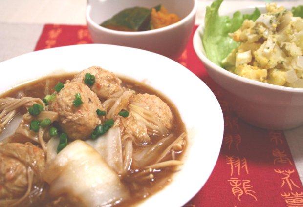 つくねと白菜のピリ辛味噌炒め2