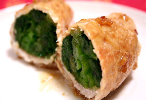 小松菜の豚肉巻きピリ辛ガーリック焼き2