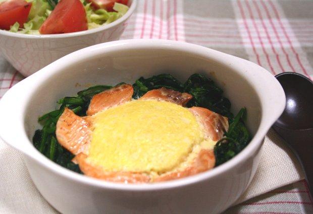 鮭と豆腐のエッグトーフグラタン1