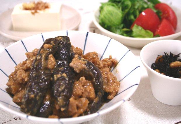 「茄子の肉そぼろ味噌煮」