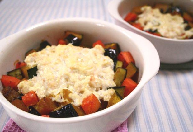 えび豆腐ソースの野菜グラタン