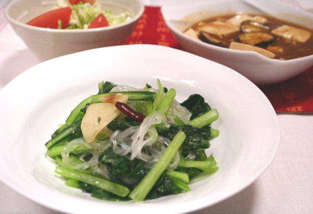 小松菜と春雨のペペロンチーノ風