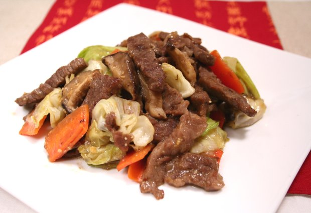 牛肉とキャベツのオイ味噌炒め