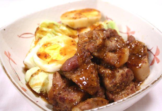 豚の甘辛マスタード角煮1