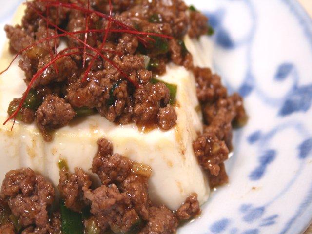 豆腐ステーキ肉そぼろソース