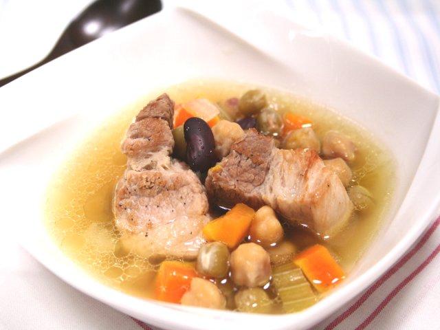 しっかりポークとコロコロビーンズのスープ