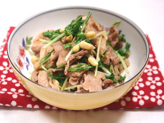 豚肉と水菜の辛子あえ