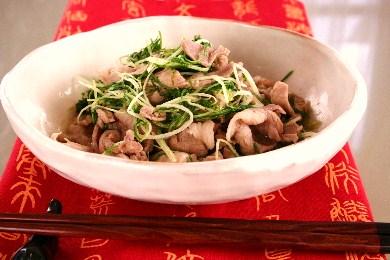 水菜と豚肉の中華風さっと炒め