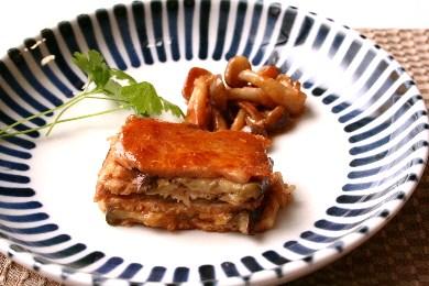 茄子と豚肉の味噌漬けのミルフィーユ