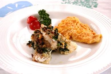 白身魚のパセリバター焼き&チーズオムレツ