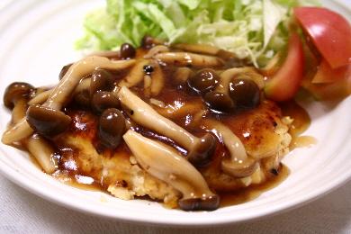 ふわふわ鶏肉ハンバーグ 和風きのこソース
