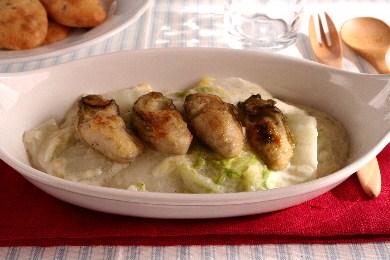 牡蠣の白菜クリームグラタン
