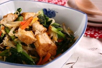 小松菜と厚揚げのチャンプルー