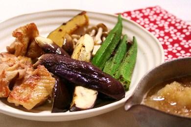 鶏肉と夏野菜の揚げ焼き おろしがけ